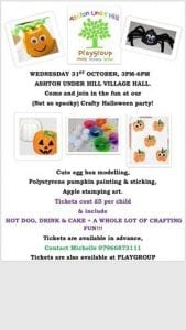 Crafty Halloween Party! @ Playgroup, Green Room   Ashton under Hill   England   United Kingdom