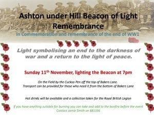 Ashton under Hill Beacon of Light Remembrance @ The Cuckoo Pen on the hill, Ashton under Hill