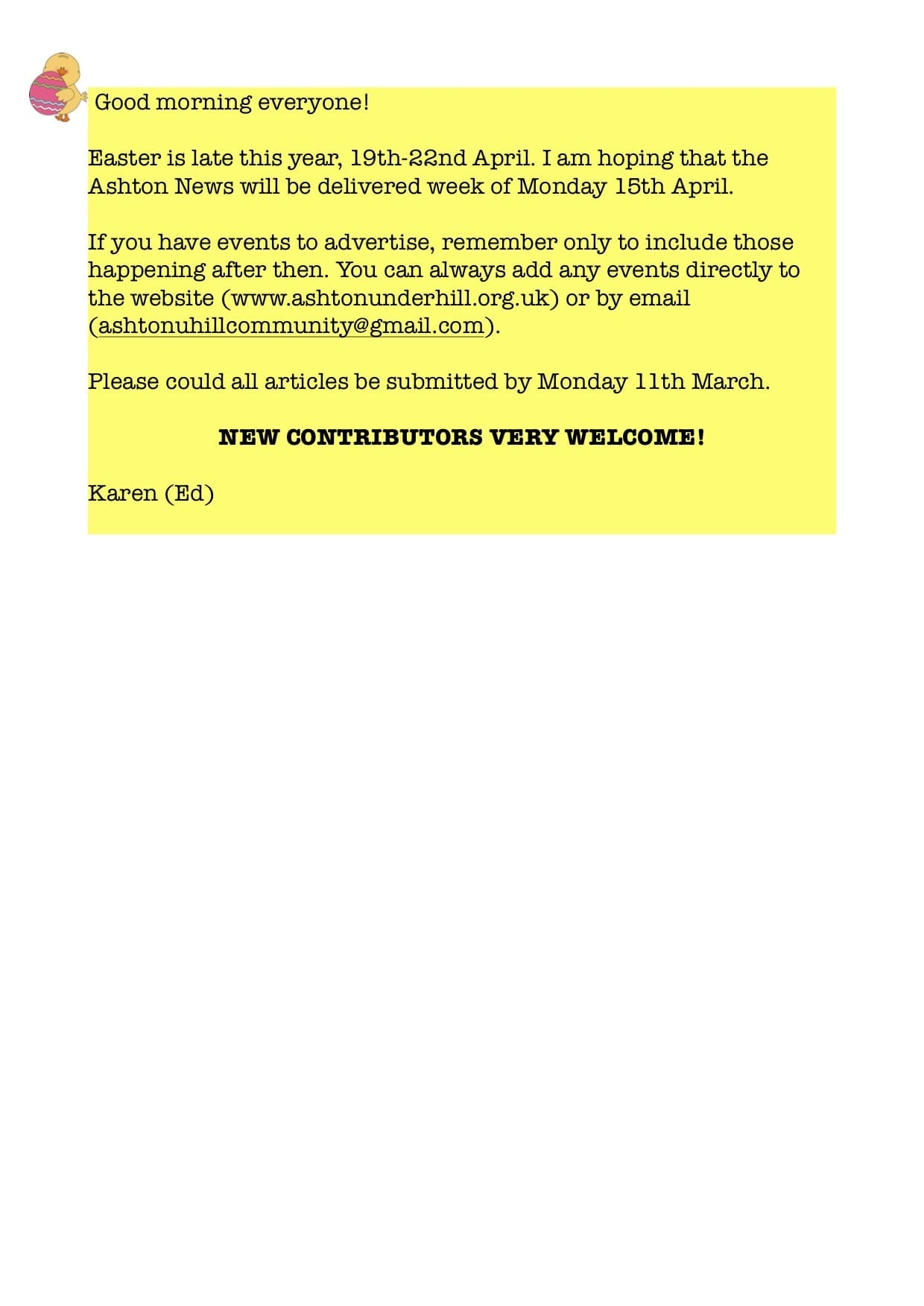 Your Ashton News articles needed!