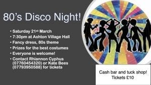 80's Disco at the Village Hall @ Ashton under Hill Village Hall